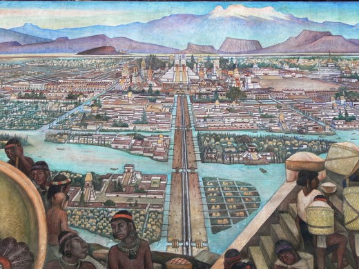 A mural of what the Aztec city of Tenochtitlan is believed to have looked like.