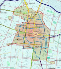 Map of Tenochtitlan over the modern streets of Mexico City