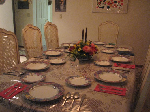 Thanksgiving '09 at my house- the set table