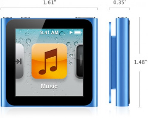 The sixth-generation iPod nano is available with either 8 or 16 gigabytes of storage space.