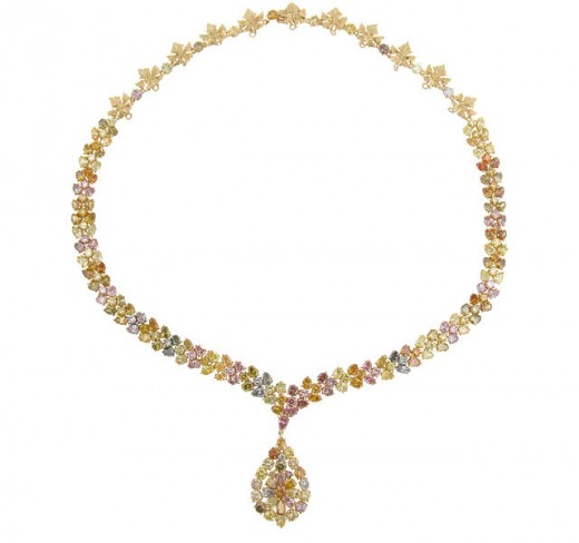 multi-colored diamond necklace