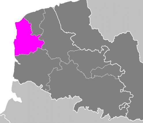 Map location of Boulogne-sur-Mer 'arrondissement'