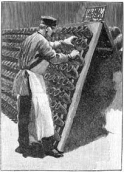 Turning Each Wine Bottle By Hand