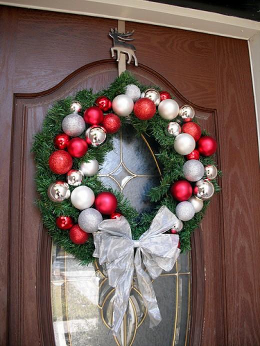 A beautiful Christmas wreath with Christmas Balls