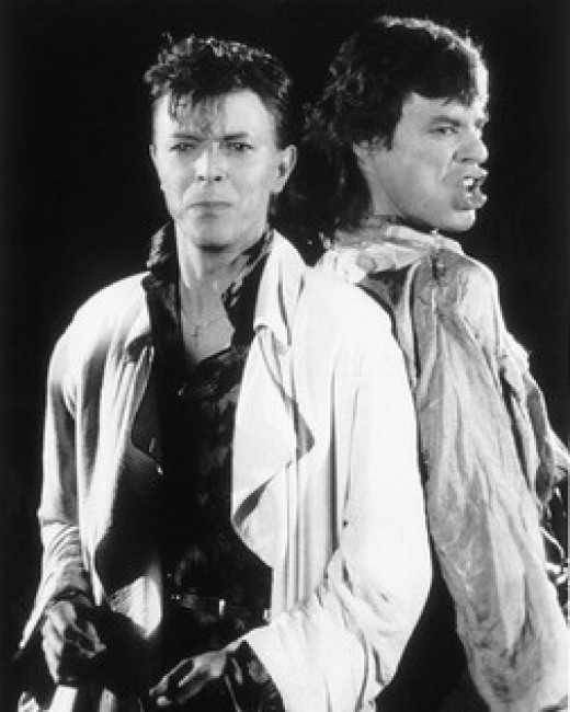 Bowie and Jagger together on stage.