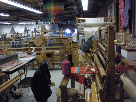 Looms in the weaving class at the Cultural Arts Center in Columbus, Ohio