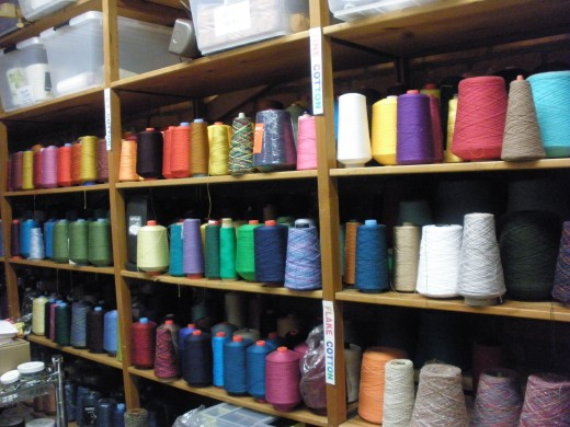 This is one of many shelves of beautiful threads in the storeroom of the weaving class at the Cultural Arts Center.