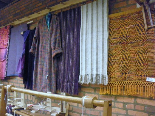 Completed projects on display in the weaving room at the Cultural Arts Center in Columbus, Ohio