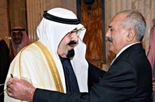 Saudi King with Yemeni President (R)