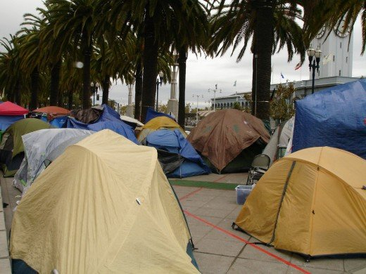 Occupy San Francisco camp, looking toward the Bay from the south end of Herman Park