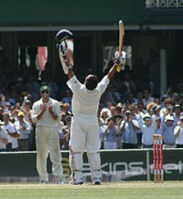Tendulkar celebrates upon reaching his 38th Test century against Australia in the 2nd Test at the SCG in 2008, where he finished not out on 154