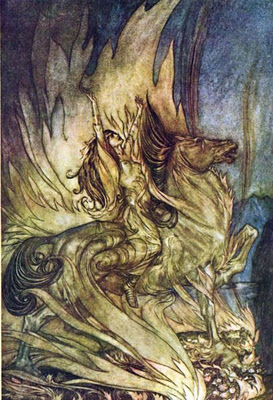 Arthur Rackham's Brunnhilde's Immolation, this scene from Wagner's Ring was, according to Albert Speer, performed during the last concert of Berlin's Philharmonic shortly before Hitler's suicide.