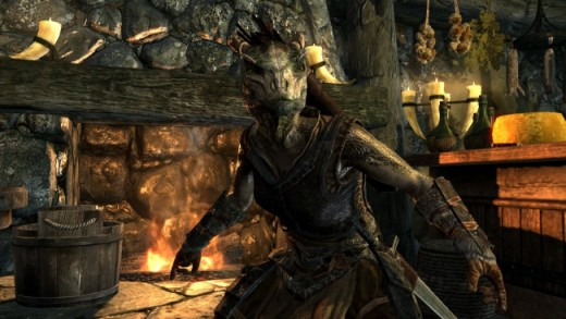 A picture released by Bethesda of an argonian sneaking (showing that they are a good race for thieves).