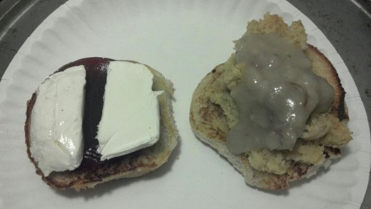 Got that bun ready, cream cheese and cranberry sauce on one side and dressing and gravy on the other.