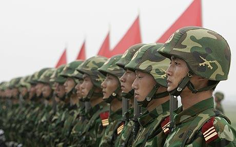 Soldiers of the Peoples Liberation Army (PRC) at attention.