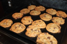 A batch of perfectly cooked chocolate chip cookies!