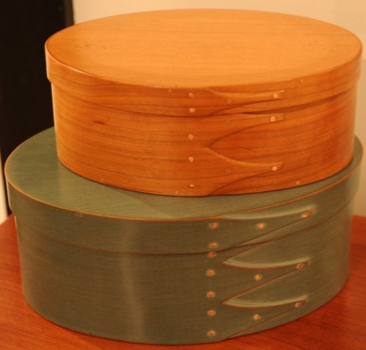 Hatboxes, such as these Shaker Hatboxes, can be made of wood making them very durable.