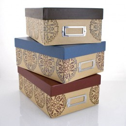 Storage boxes are available in many different styles and colors.