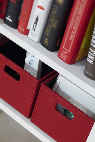 Rubbermaid Bento  Products can be used on shelves to provide organized storage solutions. - see inset below