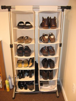 Shoe can be hung on hanging storage units.
