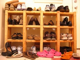 "Shoe Rack Built with 2"" x 2""s"