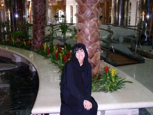 A photo of me wearing the traditional abaya in Saudi Arabia.
