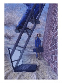 Businessman Climbing a Ladder Emerging From a Laptop