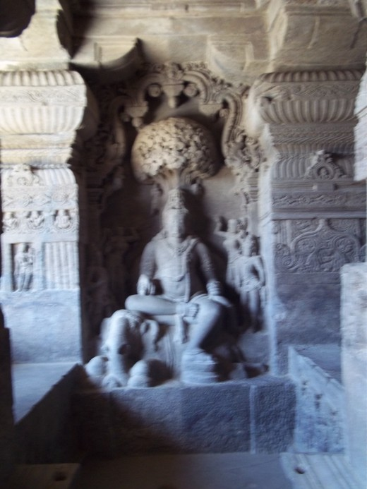 A sculpture at 'Indrasabha cave' (chota Kailas), one of the five Jain caves at Ellora.