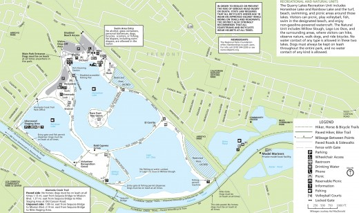 The whole map of the Quarry Lakes Regional Recreation Area. We can see there are three lakes in the area.
