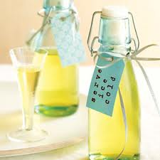 Homemade limoncello, beautifully bottled and ready to serve