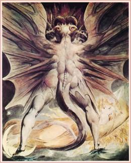 Satan buying Christmas sherry in Tesco by William Blake