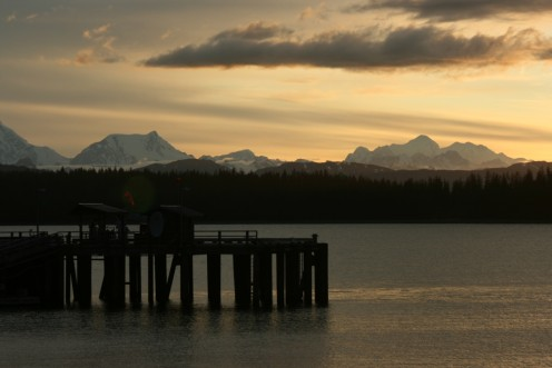 The Fairweather Mountains, as seen from Glacier Bay Lodge