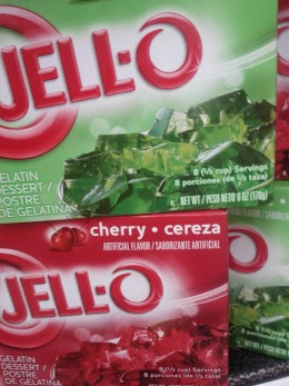 Annejie uses 4 large boxes of red and green Jello  for her Christmas trifle