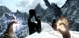 Skyrim Hag's End Defeating the Hagraven. The hero can actually use the Slow Time Dragon Shout here. The red dragon Odahviing is seen on the right.