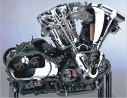 The Vulcan V-Twin's cutaway shows it's a classic all the way to the pushrods.