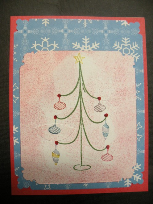 Tree cardstock adhered