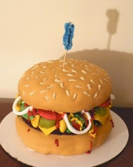 Yes, this is a cake, not a hamburger, but on a toothpick so no calories