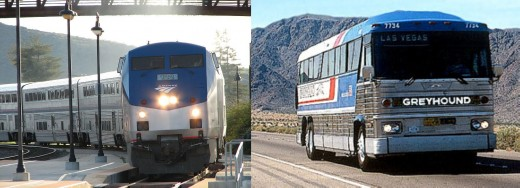 Amtrak train (left) tends to offer better choice than intercity motor coach (right), especially for overnight travel. [Photo composite by L. Henry; photos from WikiTravel and Nocargo.com]