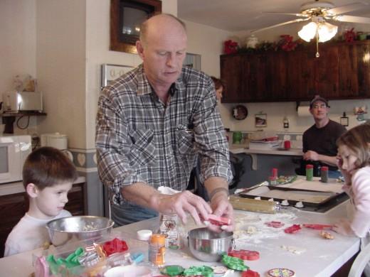Grandpa making cookies.