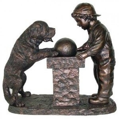 Beautiful Young Boy and St. Bernard Dog Drinking Fountain