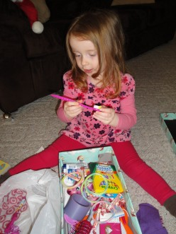 I was so proud of my daughter filling up a shoe box for a 3-year-old in poverty.  There were candies and toys that were very appealing to her, and she gave it all away willingly.