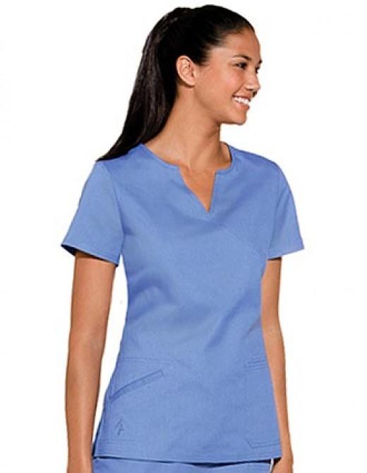 Baby Phat Women Split Mock Wrap Nurses Scrub Top