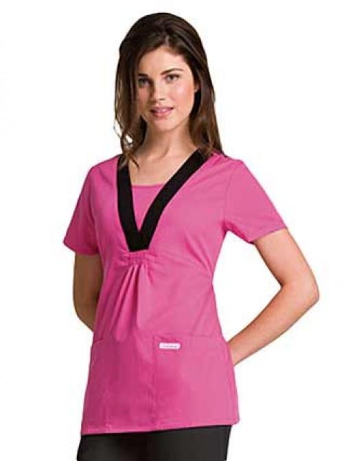 Cherokee Touch Women Two Pocket Empire Waist Nurse Scrub Top