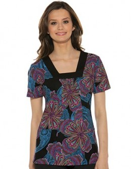 square neck paisley illusion Baby Phat scrub top