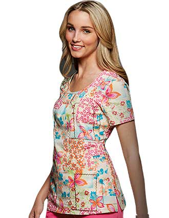 U-shape patchwork princess scrub top