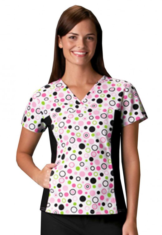 Cherokee Flexibles scrub top with polka dot prints