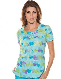 pin tuck, heart-printed scrub top