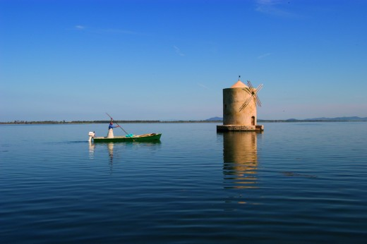Fishing for eel on Orbetello lagoon