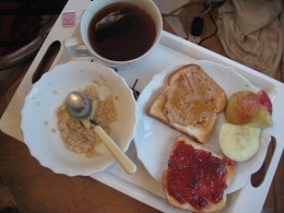 Oatmeal, toast and tea are all great breakfast choices.