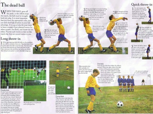 Throw-ins, Free kick, Corner kick and Penalty kick.